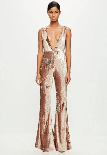 peace love gold sequin jumpsuit missguided