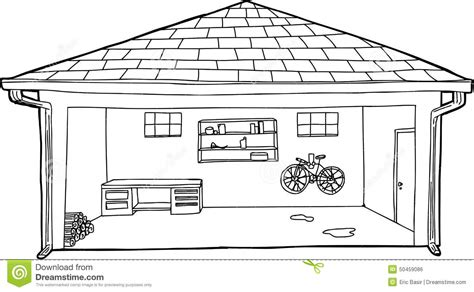 garage cartoon outlined garage with bike and workbench stock illustration