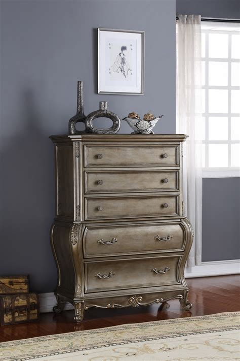 Roma French Bombe 5 Drawer Chest Antique Silver Bombe Bedroom Furniture