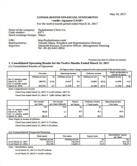 consolidated financial statement template 37 statement formats templates in pdf