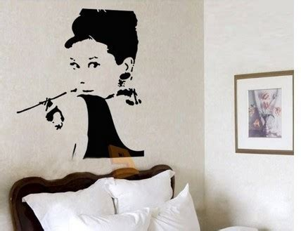 hepburn wall stickers hepburn breakfast at s silhouette decoration wall decal sticker