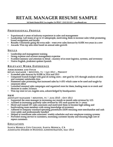 Retail Manager Resume by Retail Manager Resume Sle Writing Tips Resume Companion