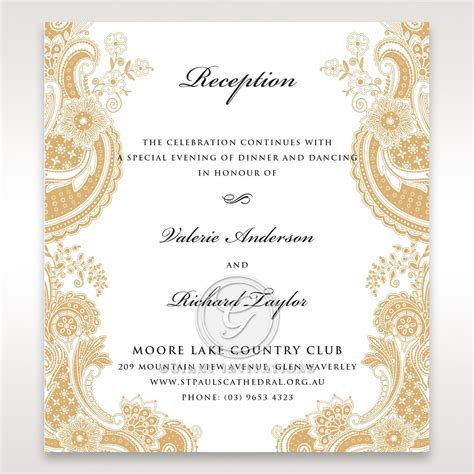 how to write wedding reception place cards shimmering golden touch a regal wedding reception card