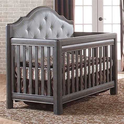Grey Baby Cribs Pali Cristallo Convertible Crib In Granite With Grey Leather Panel