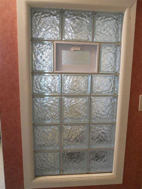 ice glass block window with vent for a bathroom bathroom
