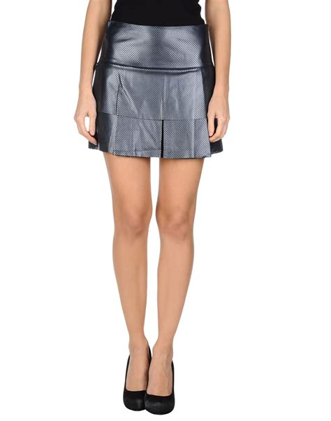 Darkblue Side Cut Sml Skirt 30043 edun leather skirt in blue blue lyst