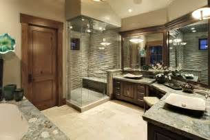 Bathroom Design Pictures countertops adds texture of this beige and dark wood master bathroom