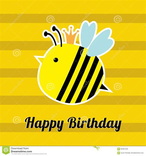happy birthday flat design happy birthday card with cute bee insect baby background