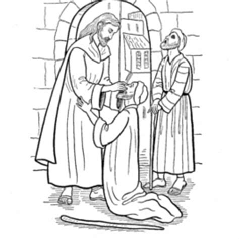 coloring page jesus heals the blind man archives mente