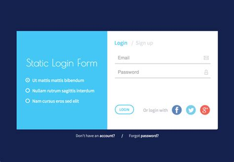 html design of login page responsive static login form html5 template free download