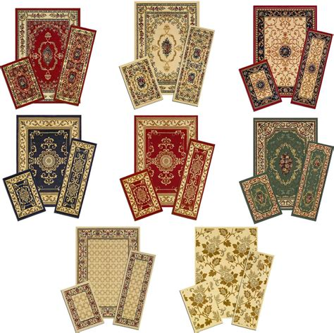 carolwright gift designer area rugs traditional accent mat runner area rug 3 set