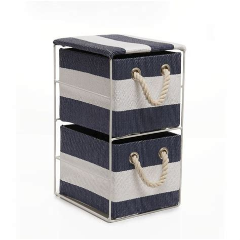 Wilko 2 Drawer Storage Unit Blue Striped At Wilko Com Nautical Bathroom Storage
