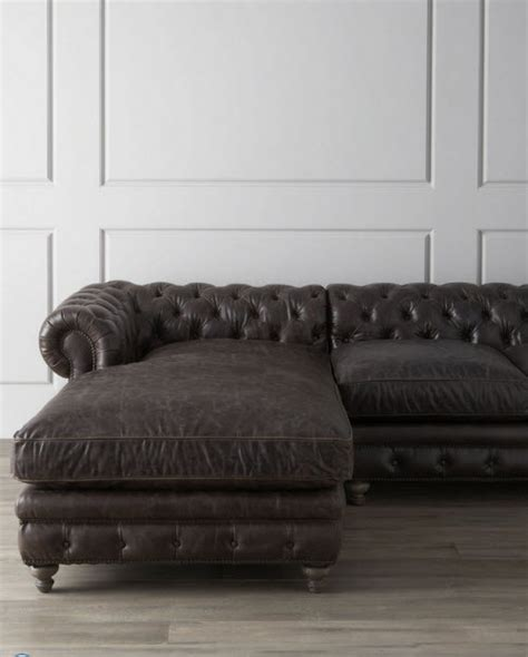 Leather Tufted Warner Sectional Sofa Tufted Leather Sectional Sofa