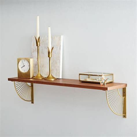 mid century shelving and gold starburst bracket set
