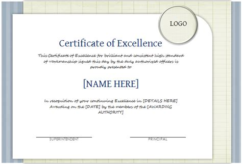 certificate of excellence templates certificate of excellence template for word document hub