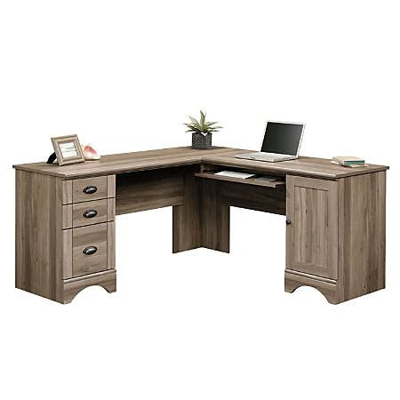 sauder corner computer desk sauder harbor view corner computer desk salt oak by office