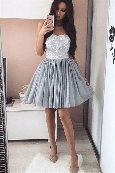 sweetheart grey lace homecoming dressesshort party