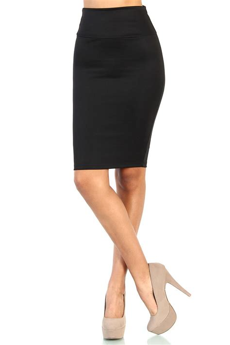 High Waist Stretch high waist stretch pencil skirt black