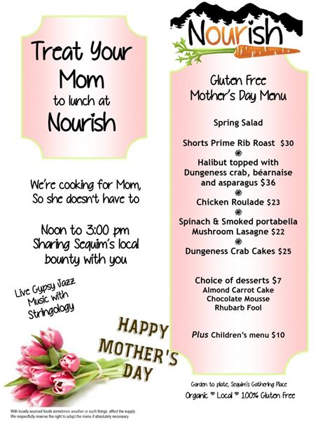 treat your mom to something special this mother s day treat your mom to lunch at nourish nourish