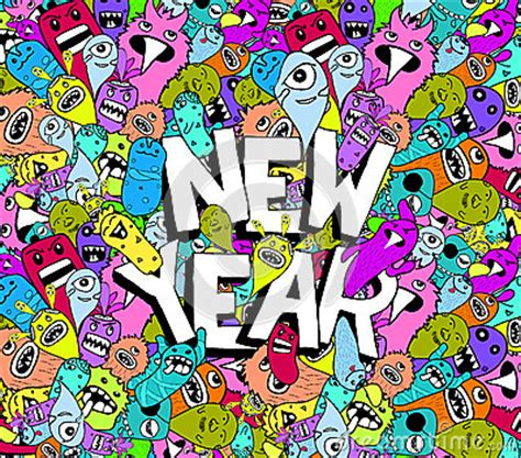 doodle new new year doodle colorful background stock vector