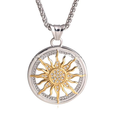 Sun Pendant Necklace new fashion 18k gold silver plated iced out sun