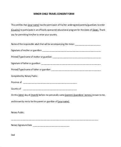 10 free child travel consent form template sle child