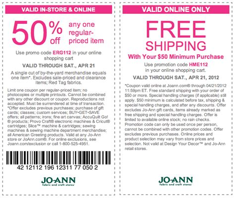 printable joann fabric coupons 2012 joann fabrics 50 off printable coupon
