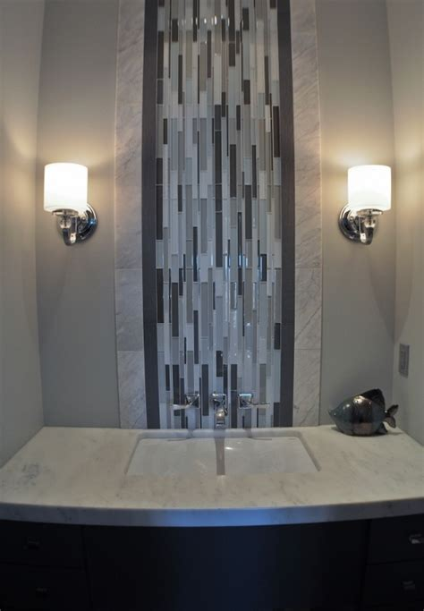 glass tile powder room 17 best images about powder room reno on powder room design glass mosaic tiles and
