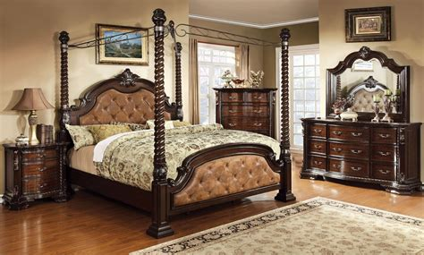 poster bedroom sets with canopy monte vista ii poster canopy 4 piece bedroom set in dark brown
