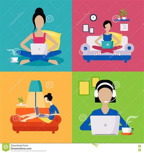 working freelance illustration set stock vector