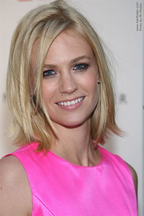 pictures of very long hair flipped up january jones medium length blonde hairstyle with a flip