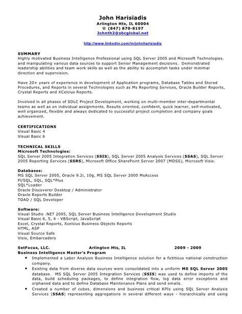 Sql Server Resume Sample by John Harisiadis Bi Resume