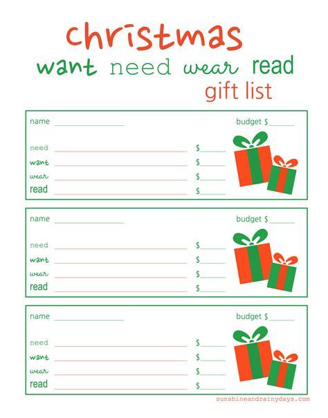 Printable Christmas List Want Need Wear Read | christmas want need wear read gift and wish list