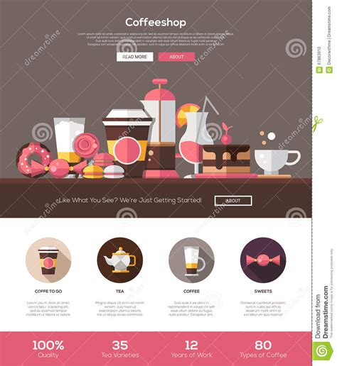 Coffee Shop Cafe Bakery Website Template With Header And Icons Stock Vector Image 67863910 Free Coffee Website Templates