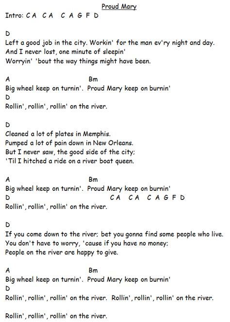 Proud Mary Guitar Chords