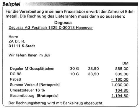 Rechnung Vom Kleinunternehmer Absetzen der zahnarzt und die umsatzsteuer teil 2 verschenken sie keine vorsteuer