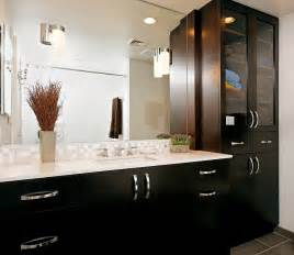 bathroom cabinets dark wood with contemporary door handles