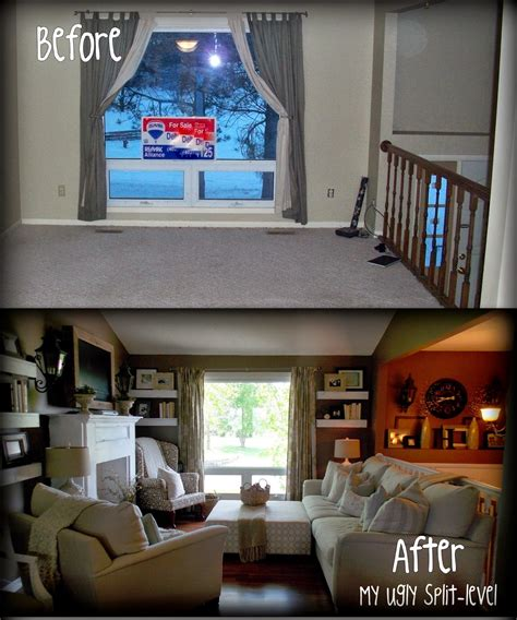 this has tons of thrifty ideas for redecorating a plain split level home makes split