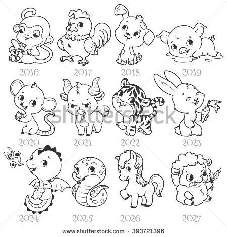 new year animal outlines set zodiac signs style stock vector