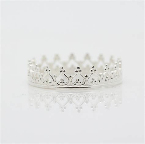 sterling silver crown ring dainty princess by