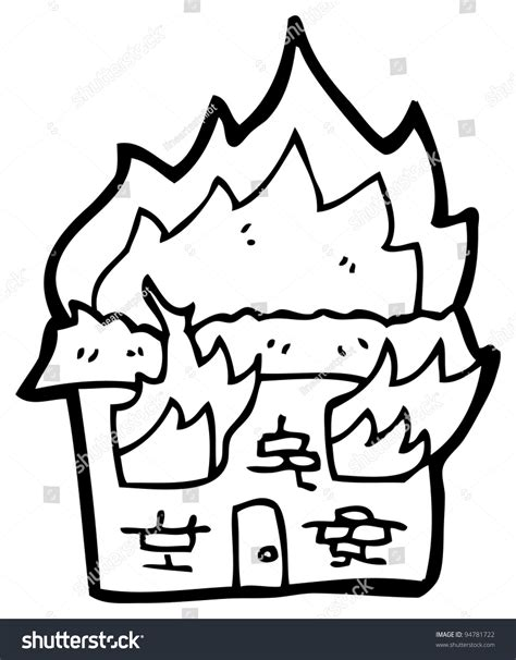 burning house coloring page burning building cartoon stock photo 94781722 shutterstock