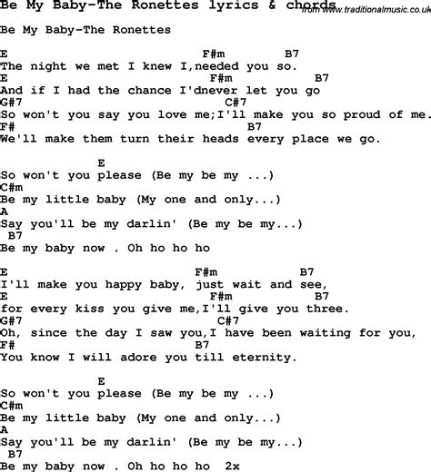 will you be my song lyrics song lyrics for be my baby the ronettes with chords