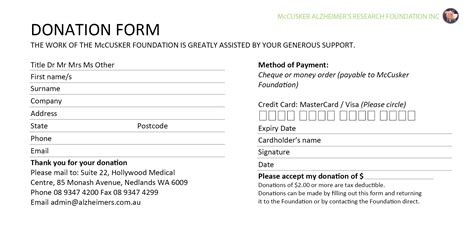 donation card template word 6 donation form templates excel pdf formats