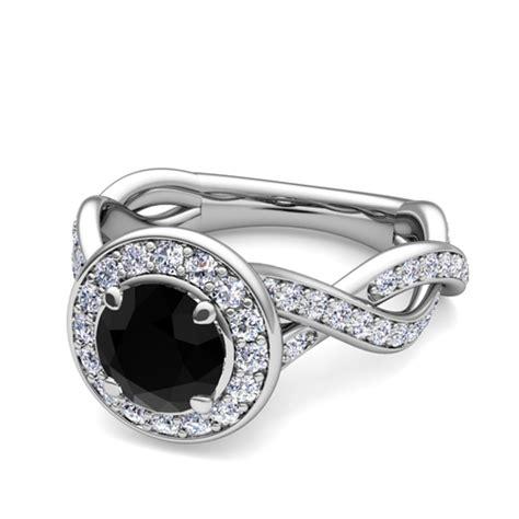 infinity black halo engagement ring 18k gold 5mm gem