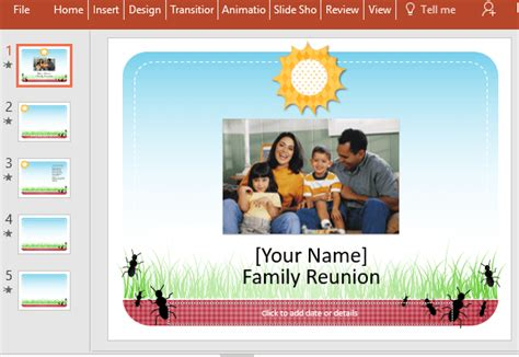Free Family Reunion Powerpoint Template Family Powerpoint Templates