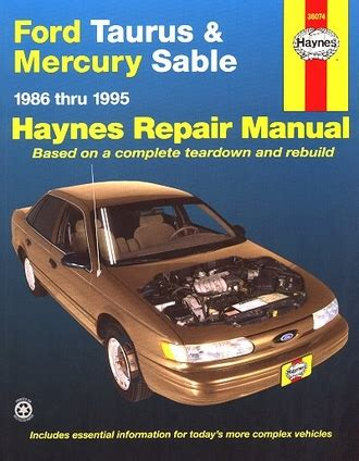 car repair manuals online free 1995 ford taurus engine control ford taurus mercury sable repair manual 1986 1995 haynes