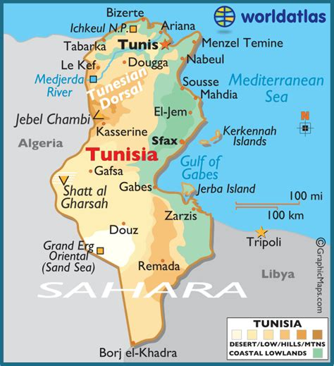 where is tunisia in the world map tunisia map travelsfinders