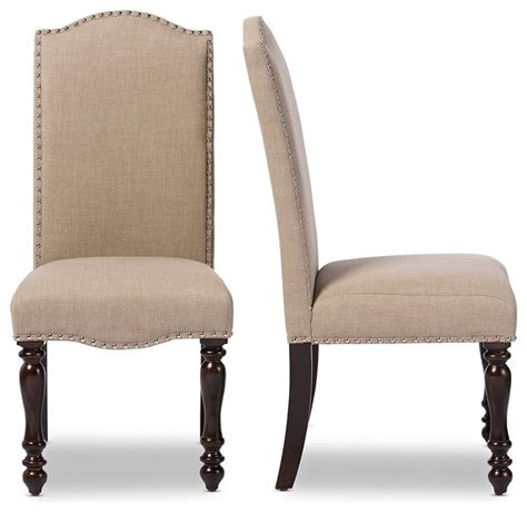Upholstery Fabric Dining Chairs Beige Linen Fabric Upholstered Dining Chairs Oak Brown Set Of 2 Low Traditional Dining