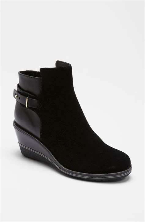 cole haan rayna ankle boot in black black suede lyst