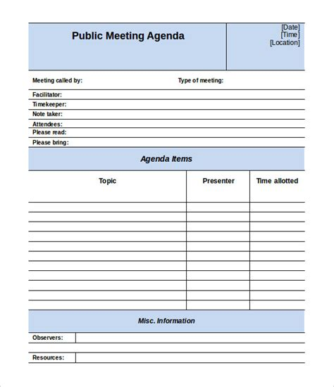 50 Meeting Agenda Templates Pdf Doc Free Premium Templates Free Printable Meeting Minutes Template